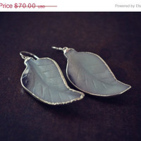 ON SALE LILY Amazonite Leaves Gemstone Silver Electroformed Earrings One of a kind