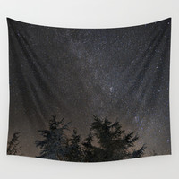Andromeda Galaxy, Perseus and milkyway over the forest in the mountains Wall Tapestry by Guido Montañés