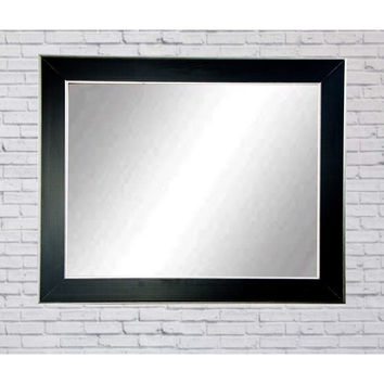 "Brandt Works Silver Accent Black Wall Mirror BM011M3 32""x41"""