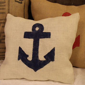 SALE! Burlap Anchor Pillow- Nautical -Coastal Beach -Home Decor- Blue Anchor Pillow- Nautical Pillow- Beach Pillow