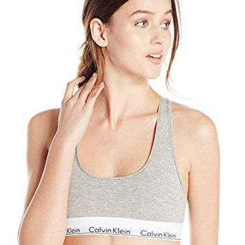 Calvin Klein Women's Modern Cotton Bralette, Grey Heather, Large