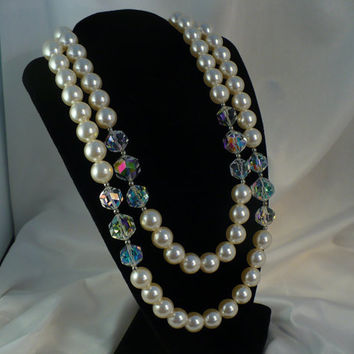 Vintage LAGUNA 2-Strand AB Crystal & Pearl Necklace, Old New Stock