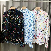 LV Louis Vuitton Trending Women Men Casual Print Long Sleeve Lapel Shirt Top