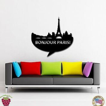 Wall Stickers Vinyl Decal Paris France Europe Travel Decor Living Room Unique Gift (z1750)