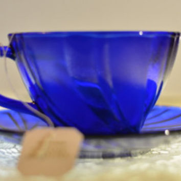 Blue Glass Home Decor, Fenton Art Glass Compote, Ruffled Edge Trinket Dish, Pedestal Glass Candy Jewelry  Dish, Collectible Glass Bowl