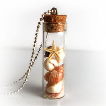 Sea shells in a bottle necklace, vial necklace with seashalls, conchs, starfish and sand, Nature's Treasure collection