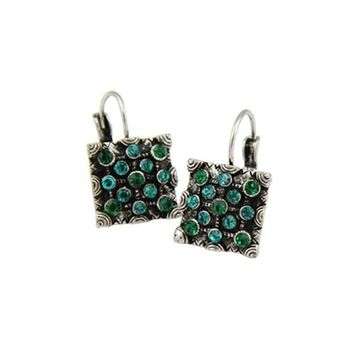 DCCKFV3 Newest Classic Trendy Vintage Silver Color Blue Magic Green Crystal Square Statement Drop Earring For Women Fashion Jewelry 2017