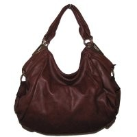Textured Large Hobo Handbag (Brown)