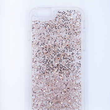 Kate Spade New York Hardshell Clear iPhone 6/6s Case - Rose Gold/Silver Glitter