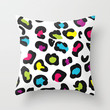 Bold Rainbow Leopard Print Throw Pillow by hhprint