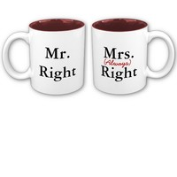 Mr Right and Mrs Always Right Matching Couples Mugs Set from Zazzle.com