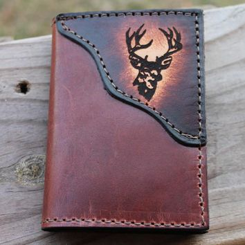 Classic Leather Trifold Wallet --Deer accent--Initals Engraved Free!