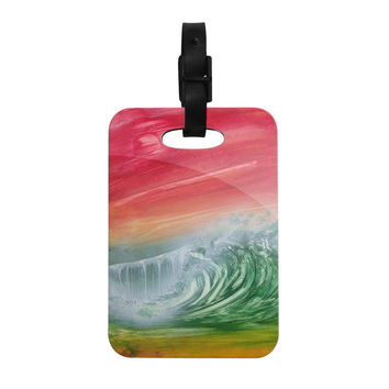 "Infinite Spray Art ""Can't Get Enough"" Pink Green Decorative Luggage Tag"