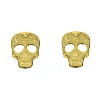 Sugar Skull Earrings in Mirror Gold