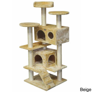 "Go Pet Club 53"" Faux Fur Wood Cat Tree Condo Scratcher"