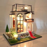 Hoomeda Wood DIY Dollhouse Miniature Model W/ Lights and Music