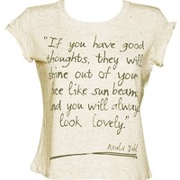 Ladies Roald Dahl Good Thoughts Speckled Rolled Sleeve T-Shirt : TruffleShuffle.com