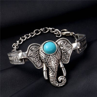 Fashion Jewelry Bracelets Folk-custom Silver Plated Elephant Turquoise Bracelet