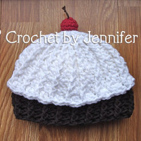 Crochet Pattern for Cupcake Beanie Hat - 4 sizes, baby to adult - Welcome to sell finished items