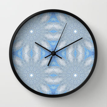 Blue & Gray Sunburst Flowers Wall Clock by 2sweet4words Designs | Society6