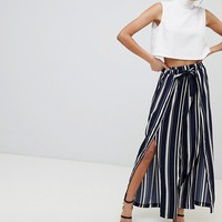 Parallel Lines Wide Leg Pants With Front Split In Stripe at asos.com