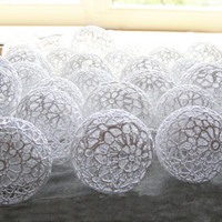 Holiday Lights, Party Lighting, Bedroom Decor lamps, Fairy Lights, String Lights, White Lace Crocheted balls, garland light