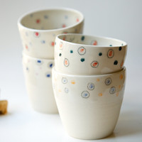 Set of 4 Ceramic Cups - Handmade Pottery by RossLab Confetti Polka Dot Pattern (made to order)