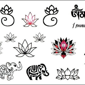 (Min order $0.5) waterproof temporary tattoo tatoo henna fake flash tattoo stickers Taty tatto Elephant and lotus WM251