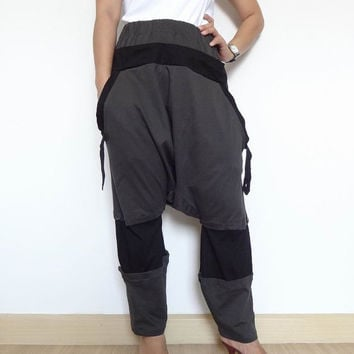 25% OFF Trouser Gaucho Two Tone Adjustable Pant,Yoga, Ninja  Pants.Unisex Grey/Black.