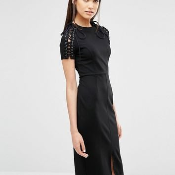 Lavish Alice Lace Up Sleeve Centre Split Bodycon Midi Dress at asos.com