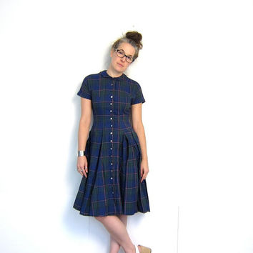 Printed 50s House Day Dress Blue Green Pink Plaid Midi Button Down Shirt Dress Cotton Box Pleat Full Skirt Small Louannes Vintage