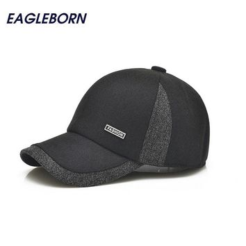 Men winter Golf Baseball caps ear protection warm casquette cap thicken woolen gorras patchwork hat for man high quality