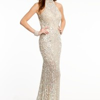 Sequin Halter Dress with Open Back