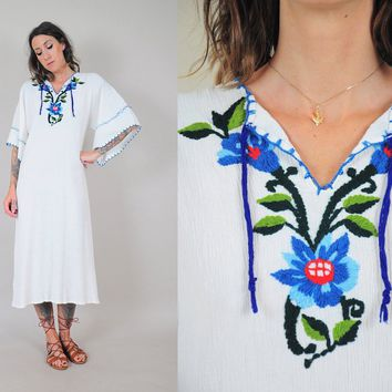 ON SALE 70's Embroidered Gauze Dress