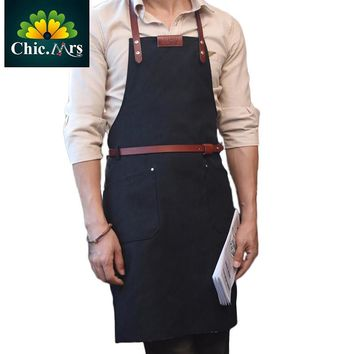 M L Size Denim Leather Apron  Jeans apron - Beauty Salon Apron -Barber Supplies