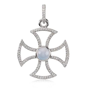 14k White Gold .75 Ctw Diamond & Chalcedony Maltese Cross Pendant