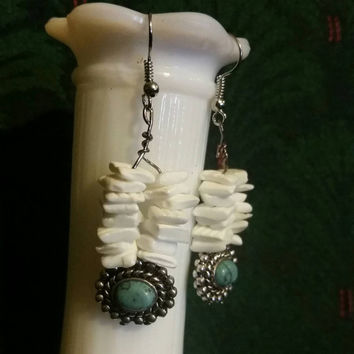 White Puka Earrings with and Turquoise Bead||  Elegant Jewelry|| White Jewellry|| Spring Jewelry||
