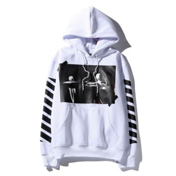 Offwhite oblique striped hooded velvet men and women sets of head sweater students winter coat White