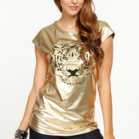 Metallic Tiger Gold Top @ Cicihot Top Shirt Clothing Online Store: Dress Shirt,Sexy Womens Shirt,T Shirts,Corset Dress,White T Shirt,Girl T Shirt,Short sleeve top,Sexy Shirts