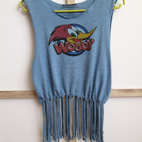 Retro fringe top Woody Woodpecker, Festival top, Fringe crop top, Retro style, Cartoon themed, Grunge clothing, Nlooming, Reworked clothing