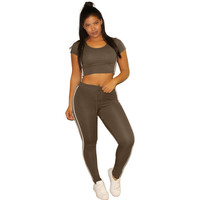 Stripes Short Sleeve Crop Hooded Top with Jogging Pants Set