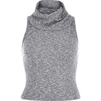 River Island Womens Grey marl ribbed sleeveless cowl neck top