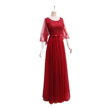 Red Popular Three Quarter Sleeve O-Neck Prom Dresses Simple Bling Sequined Bow Lace Up Romantic Prom Gown