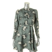 Free People Womens Floral Print Long Sleeves Casual Dress