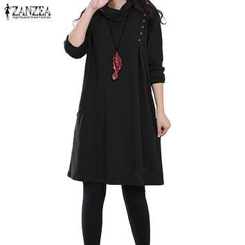 Winter Autumn Dress 2017 ZANZEA Women Dress Ladies Long Sleeve Turtleneck Loose Dresses Casual Solid Vestidos Plus Size S-5XL