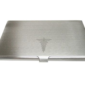 Silver Toned Etched Small Caduceus Medical Symbol Business Card Holder