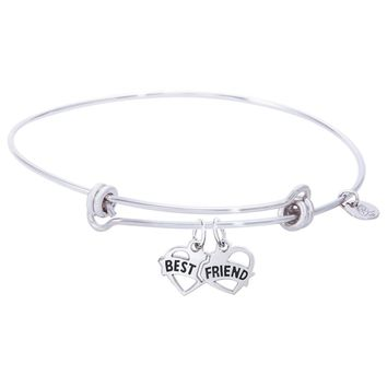 Sterling Silver Balanced Bangle Bracelet With Best Friends Charm