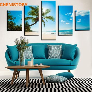 Unframed 5 Panel Blue Sky And Beach Print Home Art Picture Painting On Canvas Modern Home Decor For Living Room Artwork