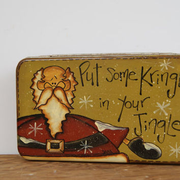 Santa Tin ~ Hand Painted Rustic Santa Claus Tin ~ Vintage Tin Santa Decoration ~ Kris Kringle Decor ~ Put Some Kringle In Your Jingle!