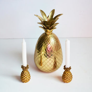 Vintage Gold Plated Pineapple Candle Holders Mini Pineapple Candlesticks Set of 2 Pineapple Candle Holders Metropolitan Museum of Ar